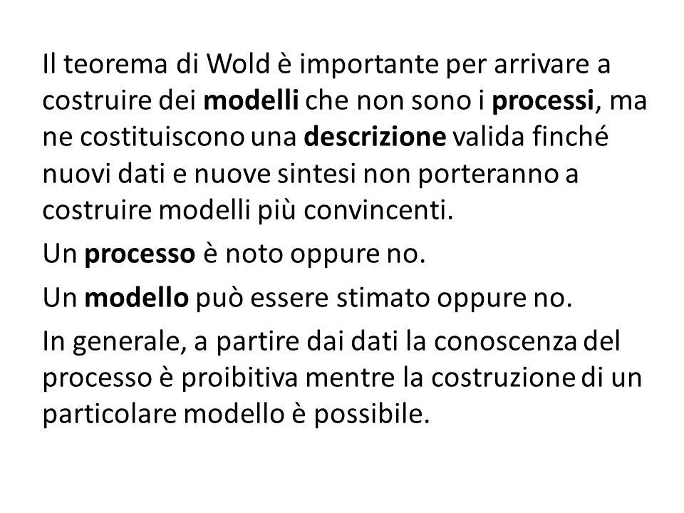 Il teorema di Wold è importante per arrivare a costruire dei modelli che non sono i processi, ma ne costituiscono una descrizione valida finché nuovi