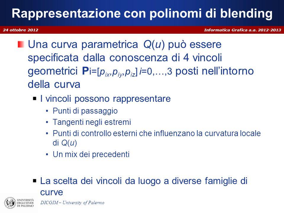Informatica Grafica a.a. 2012-2013 DICGIM – University of Palermo Rappresentazione con polinomi di blending Una curva parametrica Q(u) può essere spec