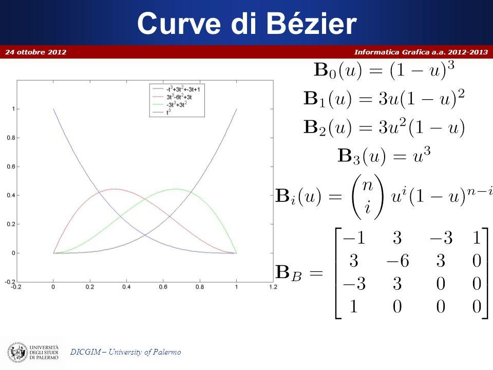 Informatica Grafica a.a. 2012-2013 DICGIM – University of Palermo Curve di Bézier 24 ottobre 2012