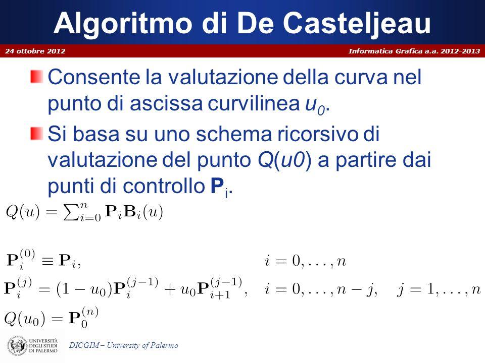 Informatica Grafica a.a. 2012-2013 DICGIM – University of Palermo Algoritmo di De Casteljeau Consente la valutazione della curva nel punto di ascissa
