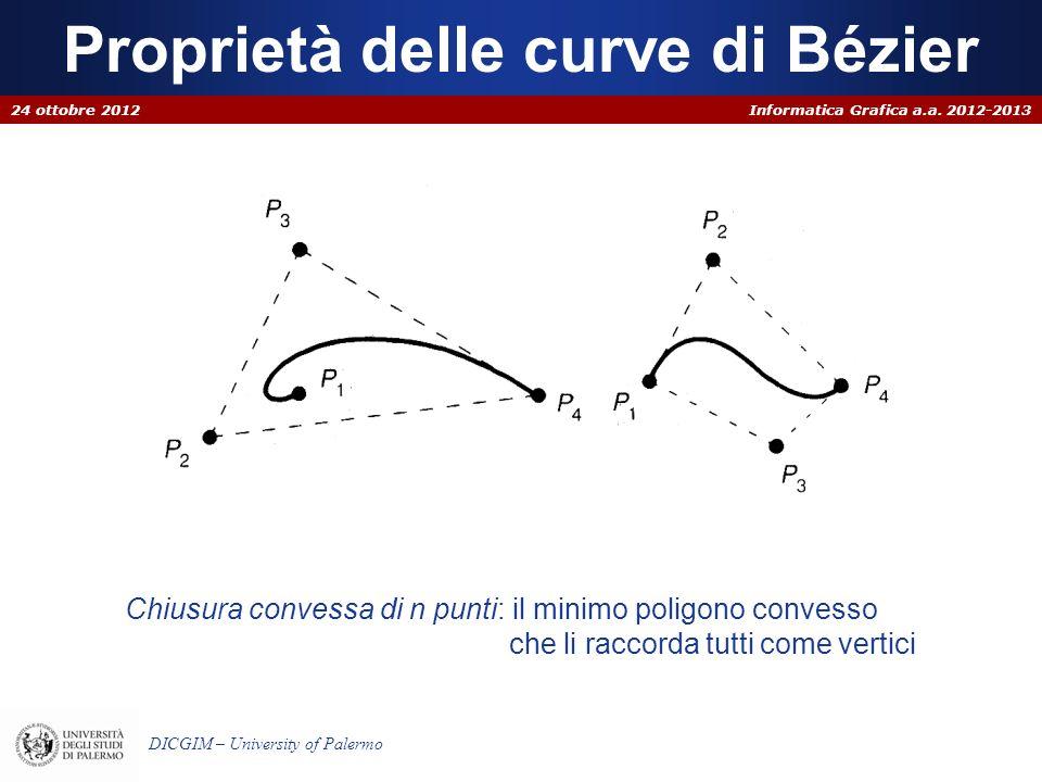Informatica Grafica a.a. 2012-2013 DICGIM – University of Palermo Proprietà delle curve di Bézier 24 ottobre 2012 Chiusura convessa di n punti: il min