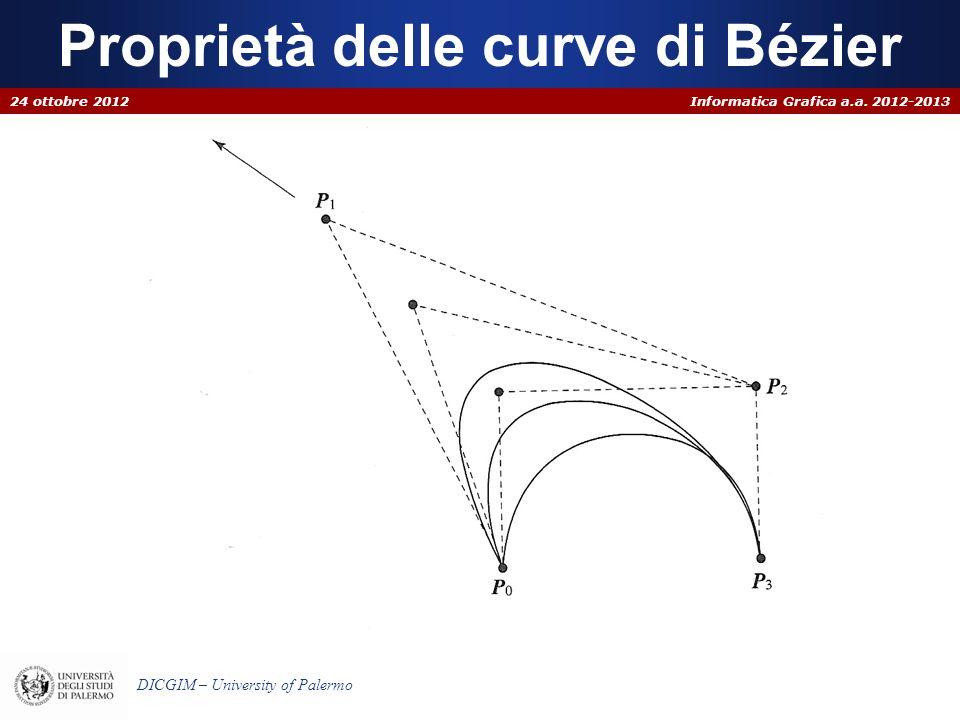 Informatica Grafica a.a. 2012-2013 DICGIM – University of Palermo Proprietà delle curve di Bézier 24 ottobre 2012