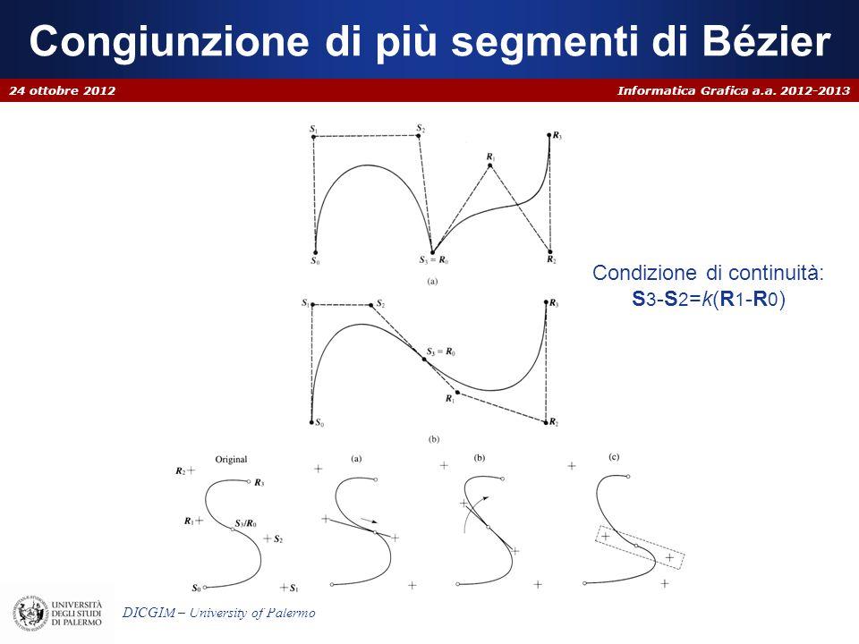 Informatica Grafica a.a. 2012-2013 DICGIM – University of Palermo Congiunzione di più segmenti di Bézier 24 ottobre 2012 Condizione di continuità: S 3