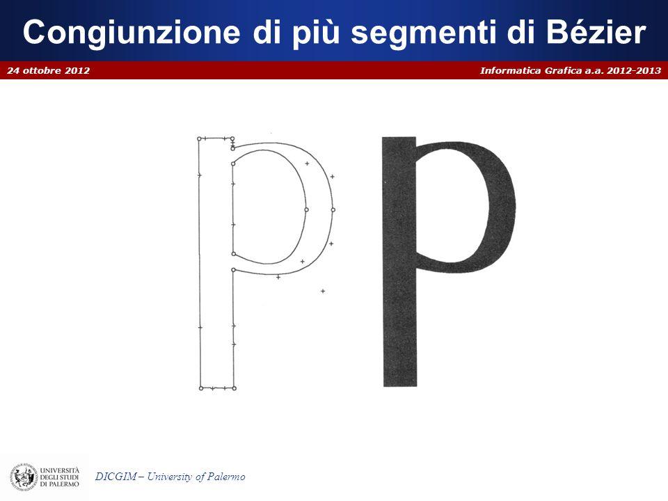 Informatica Grafica a.a. 2012-2013 DICGIM – University of Palermo Congiunzione di più segmenti di Bézier 24 ottobre 2012