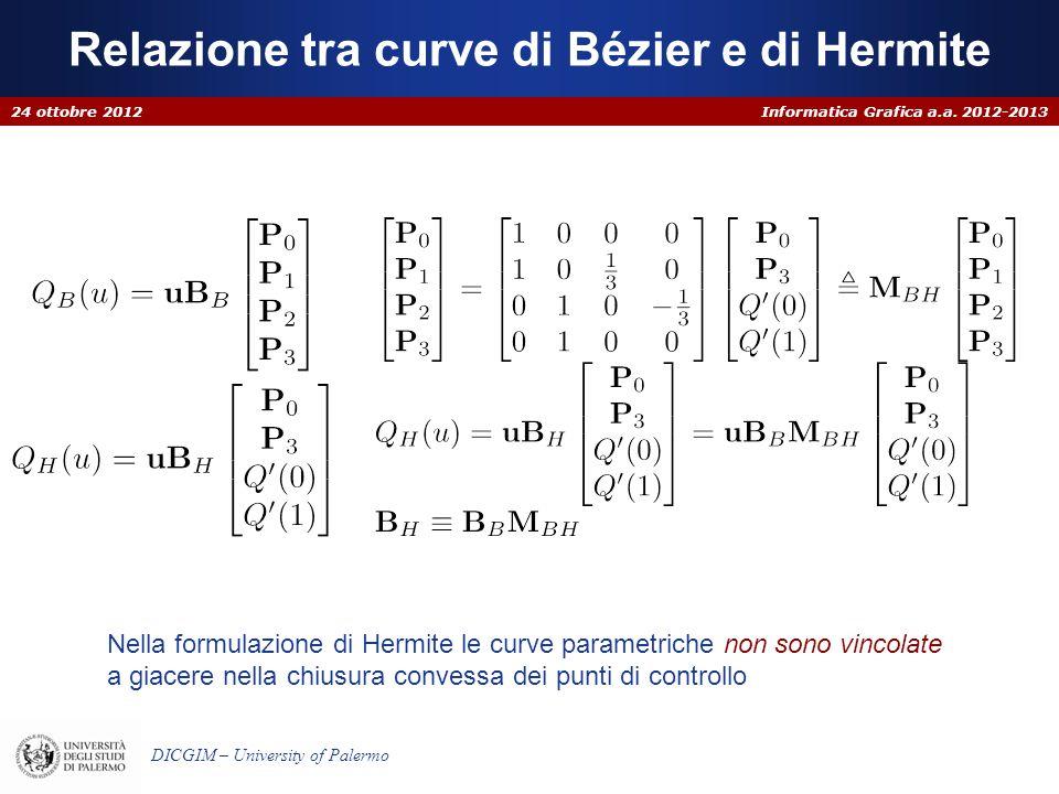 Informatica Grafica a.a. 2012-2013 DICGIM – University of Palermo Relazione tra curve di Bézier e di Hermite 24 ottobre 2012 Nella formulazione di Her