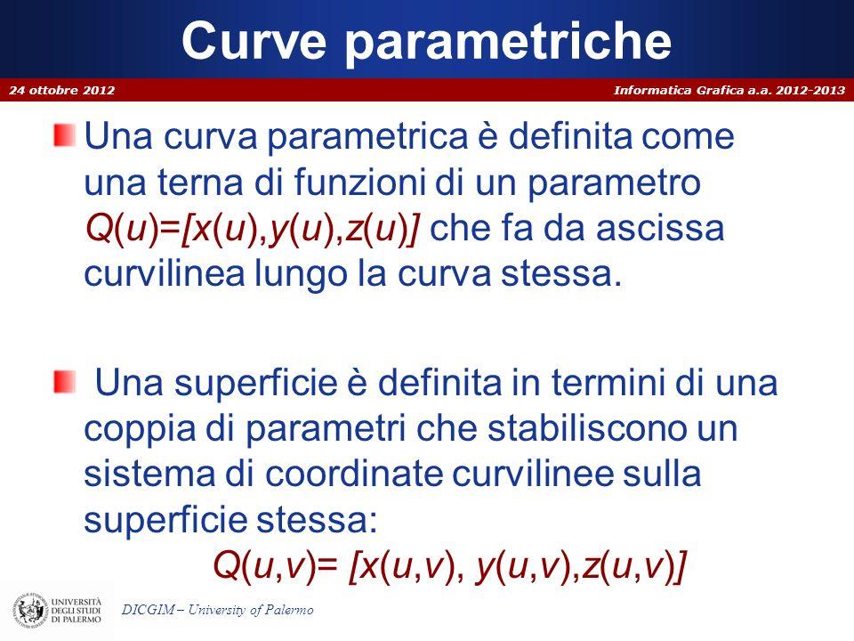 Informatica Grafica a.a. 2012-2013 DICGIM – University of Palermo Curve parametriche Una curva parametrica è definita come una terna di funzioni di un