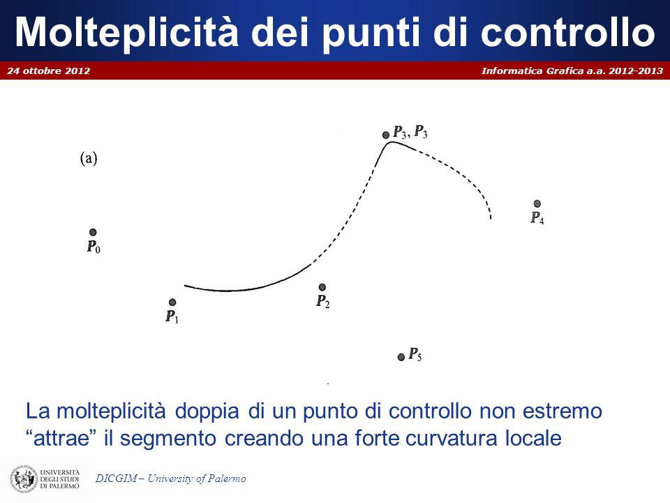 Informatica Grafica a.a. 2012-2013 DICGIM – University of Palermo Molteplicità dei punti di controllo 24 ottobre 2012 La molteplicità doppia di un pun