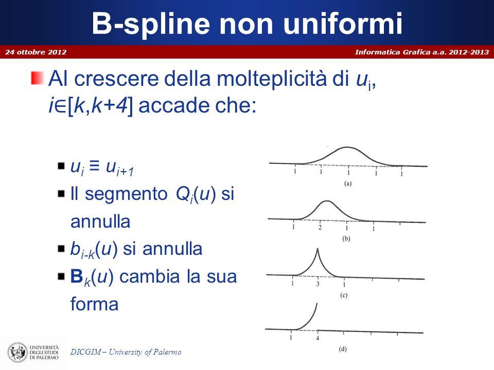 Informatica Grafica a.a. 2012-2013 DICGIM – University of Palermo B-spline non uniformi 24 ottobre 2012 Al crescere della molteplicità di u i, i [k,k+