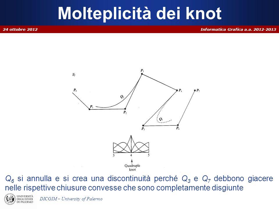 Informatica Grafica a.a. 2012-2013 DICGIM – University of Palermo Molteplicità dei knot 24 ottobre 2012 Q 6 si annulla e si crea una discontinuità per
