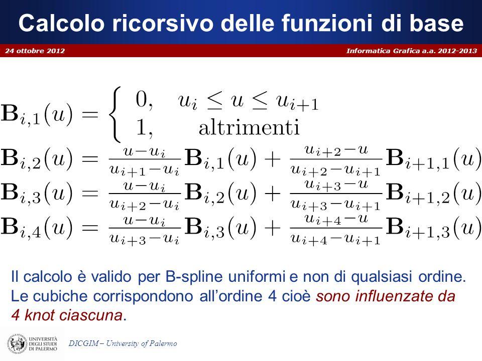 Informatica Grafica a.a. 2012-2013 DICGIM – University of Palermo Calcolo ricorsivo delle funzioni di base 24 ottobre 2012 Il calcolo è valido per B-s