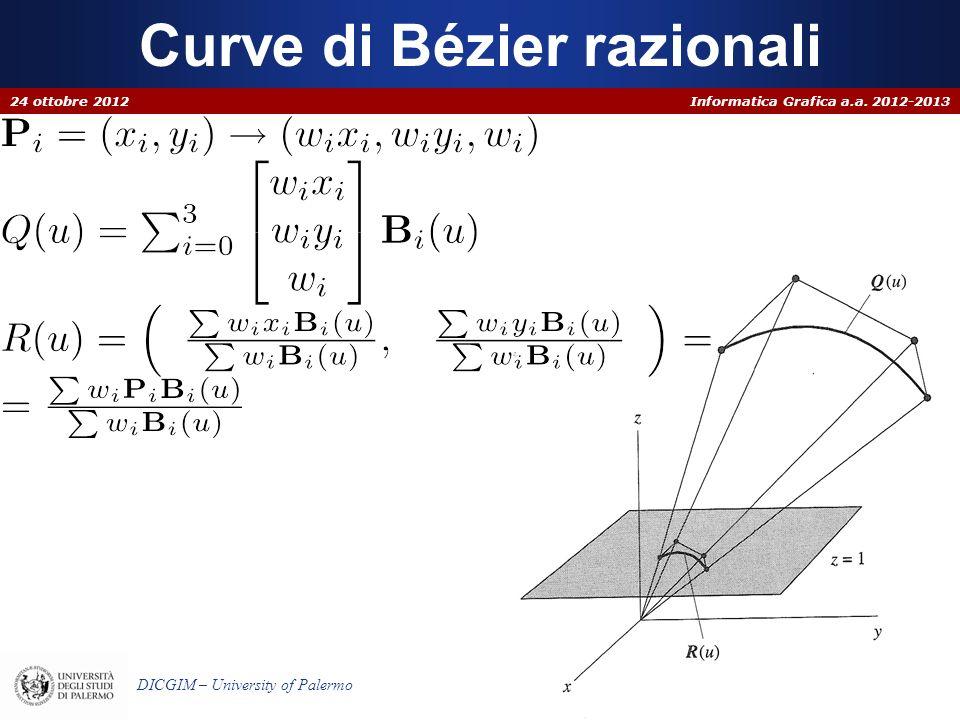 Informatica Grafica a.a. 2012-2013 DICGIM – University of Palermo Curve di Bézier razionali 24 ottobre 2012