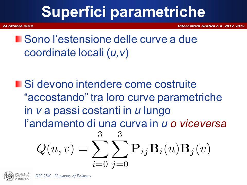Informatica Grafica a.a. 2012-2013 DICGIM – University of Palermo Superfici parametriche Sono lestensione delle curve a due coordinate locali (u,v) Si
