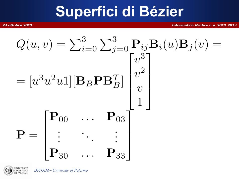 Informatica Grafica a.a. 2012-2013 DICGIM – University of Palermo Superfici di Bézier 24 ottobre 2012