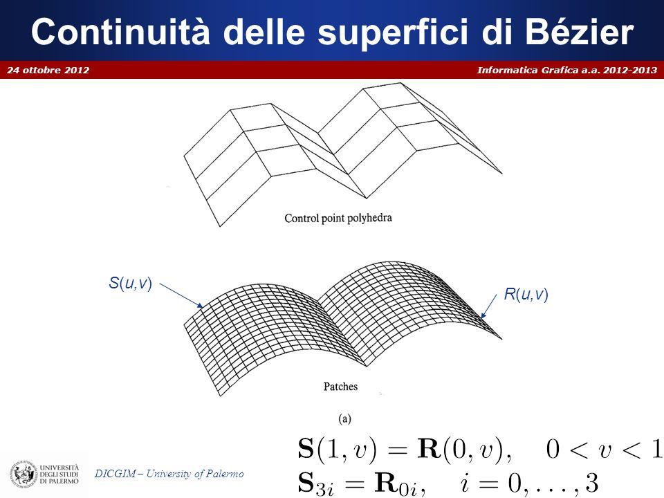 Informatica Grafica a.a. 2012-2013 DICGIM – University of Palermo Continuità delle superfici di Bézier 24 ottobre 2012 S(u,v) R(u,v)