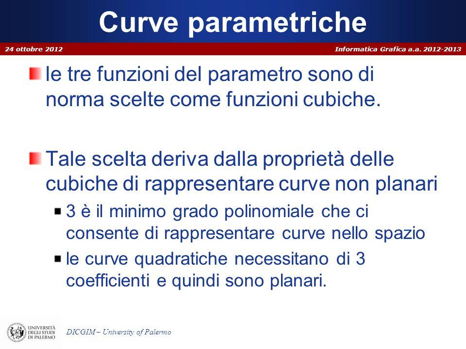 Informatica Grafica a.a. 2012-2013 DICGIM – University of Palermo Curve parametriche le tre funzioni del parametro sono di norma scelte come funzioni