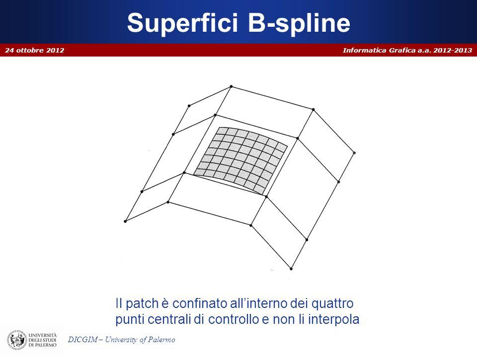 Informatica Grafica a.a. 2012-2013 DICGIM – University of Palermo Superfici B-spline 24 ottobre 2012 Il patch è confinato allinterno dei quattro punti