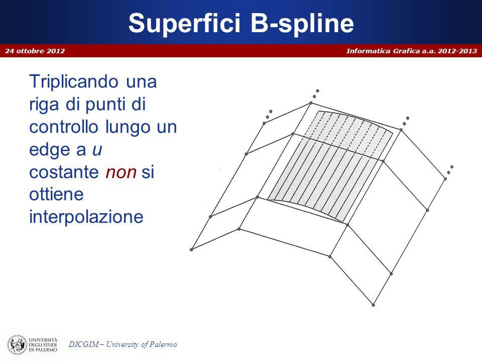 Informatica Grafica a.a. 2012-2013 DICGIM – University of Palermo Triplicando una riga di punti di controllo lungo un edge a u costante non si ottiene