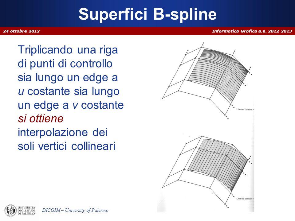 Informatica Grafica a.a. 2012-2013 DICGIM – University of Palermo Triplicando una riga di punti di controllo sia lungo un edge a u costante sia lungo