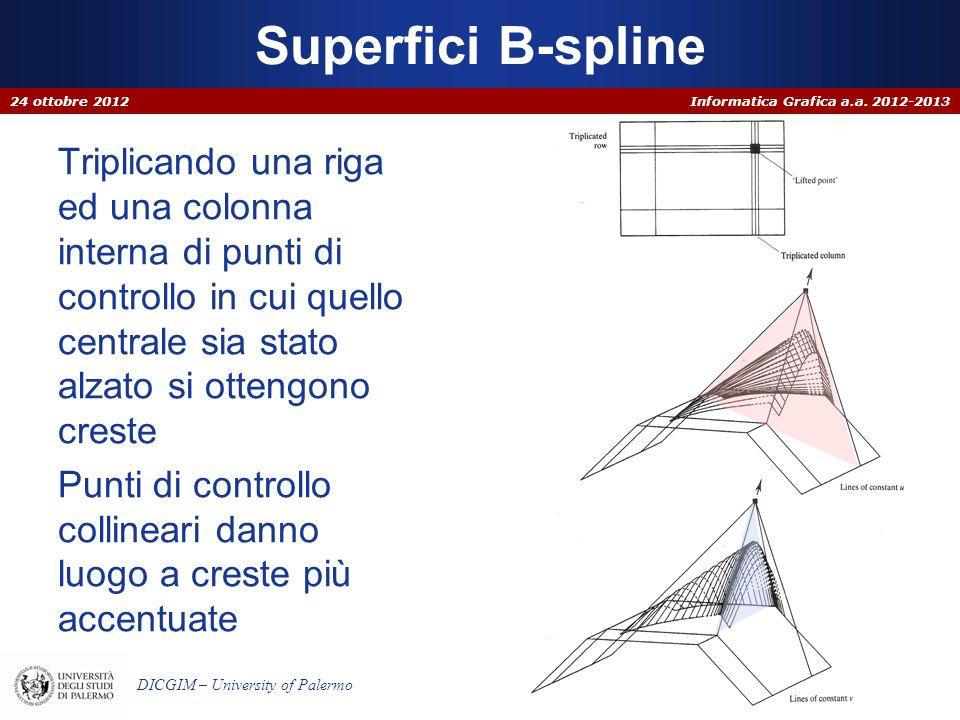 Informatica Grafica a.a. 2012-2013 DICGIM – University of Palermo Triplicando una riga ed una colonna interna di punti di controllo in cui quello cent