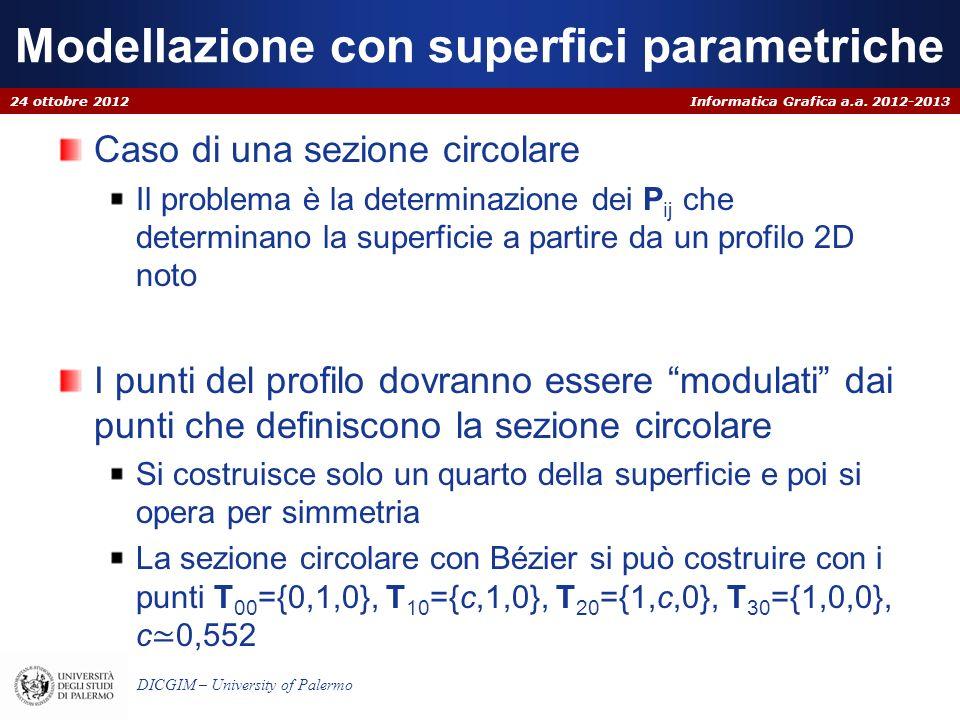 Informatica Grafica a.a. 2012-2013 DICGIM – University of Palermo Modellazione con superfici parametriche Caso di una sezione circolare Il problema è