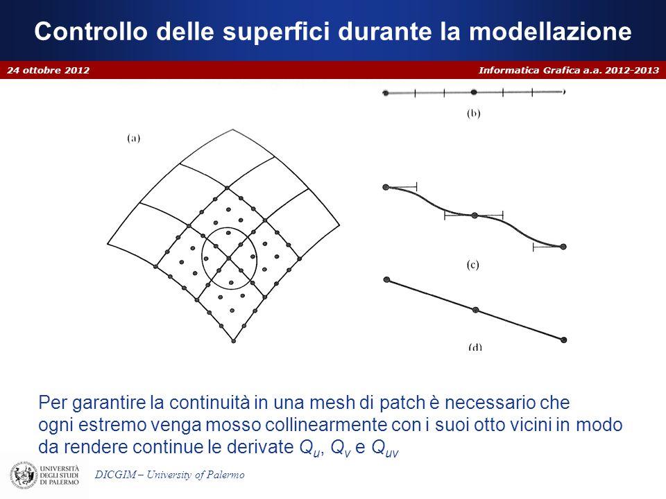 Informatica Grafica a.a. 2012-2013 DICGIM – University of Palermo Controllo delle superfici durante la modellazione 24 ottobre 2012 Per garantire la c