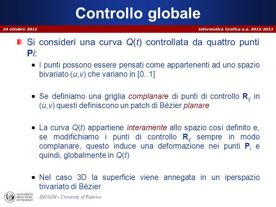Informatica Grafica a.a. 2012-2013 DICGIM – University of Palermo Controllo globale Si consideri una curva Q(t) controllata da quattro punti Pi: I pun