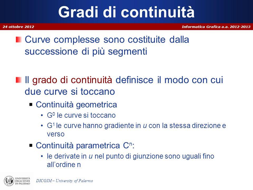 Informatica Grafica a.a. 2012-2013 DICGIM – University of Palermo Gradi di continuità Curve complesse sono costituite dalla successione di più segment
