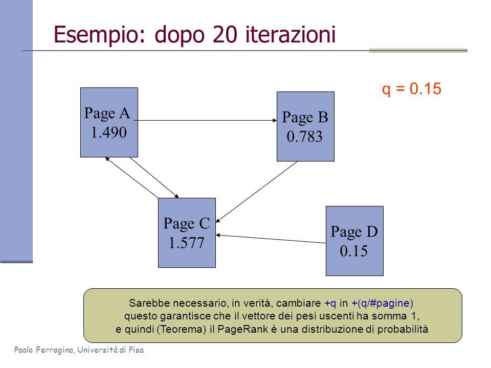 Paolo Ferragina, Università di Pisa Esempio: dopo 20 iterazioni Page A 1.490 Page C 1.577 Page B 0.783 Page D 0.15 q = 0.15 Sarebbe necessario, in ver