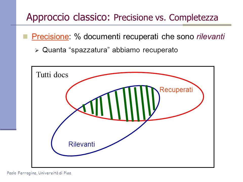 Paolo Ferragina, Università di Pisa Precisione: % documenti recuperati che sono rilevanti Quanta spazzatura abbiamo recuperato Approccio classico: Pre