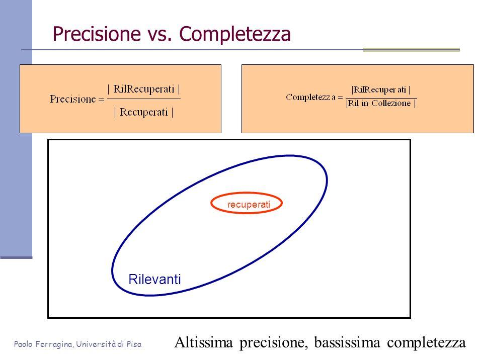 Paolo Ferragina, Università di Pisa Precisione vs. Completezza Rilevanti Altissima precisione, bassissima completezza recuperati