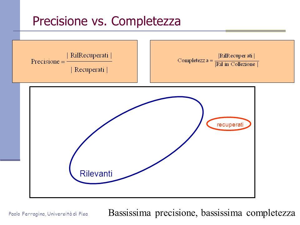 Paolo Ferragina, Università di Pisa Precisione vs. Completezza Rilevanti Bassissima precisione, bassissima completezza recuperati