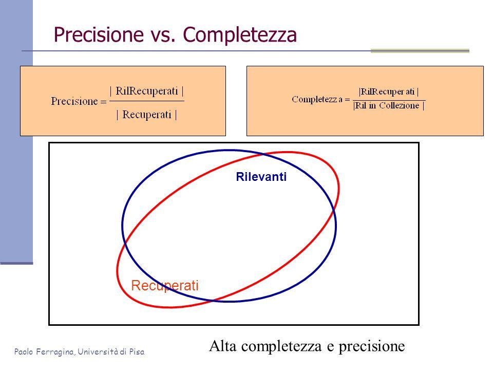 Paolo Ferragina, Università di Pisa Precisione vs. Completezza Recuperati Rilevanti Alta completezza e precisione