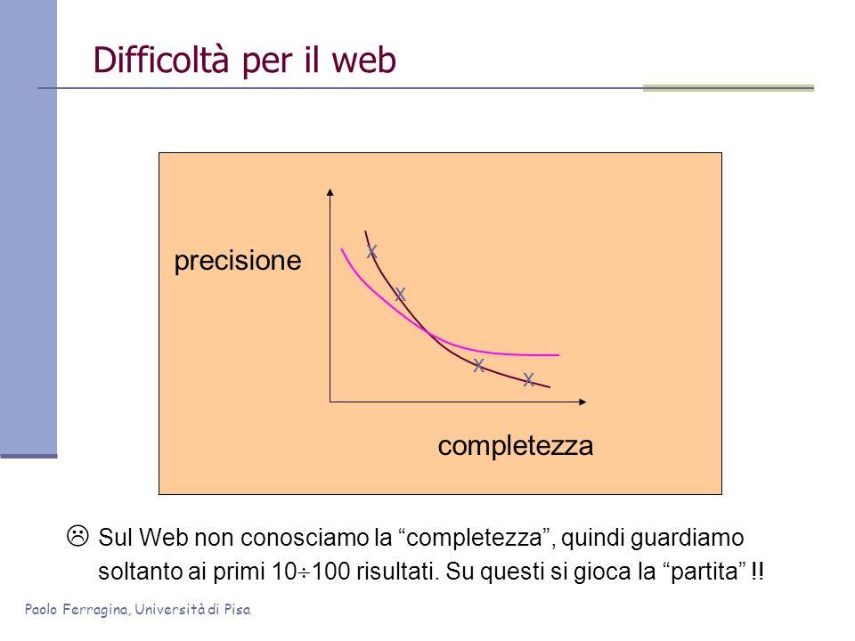 Paolo Ferragina, Università di Pisa Difficoltà per il web precisione completezza x x x x Sul Web non conosciamo la completezza, quindi guardiamo solta