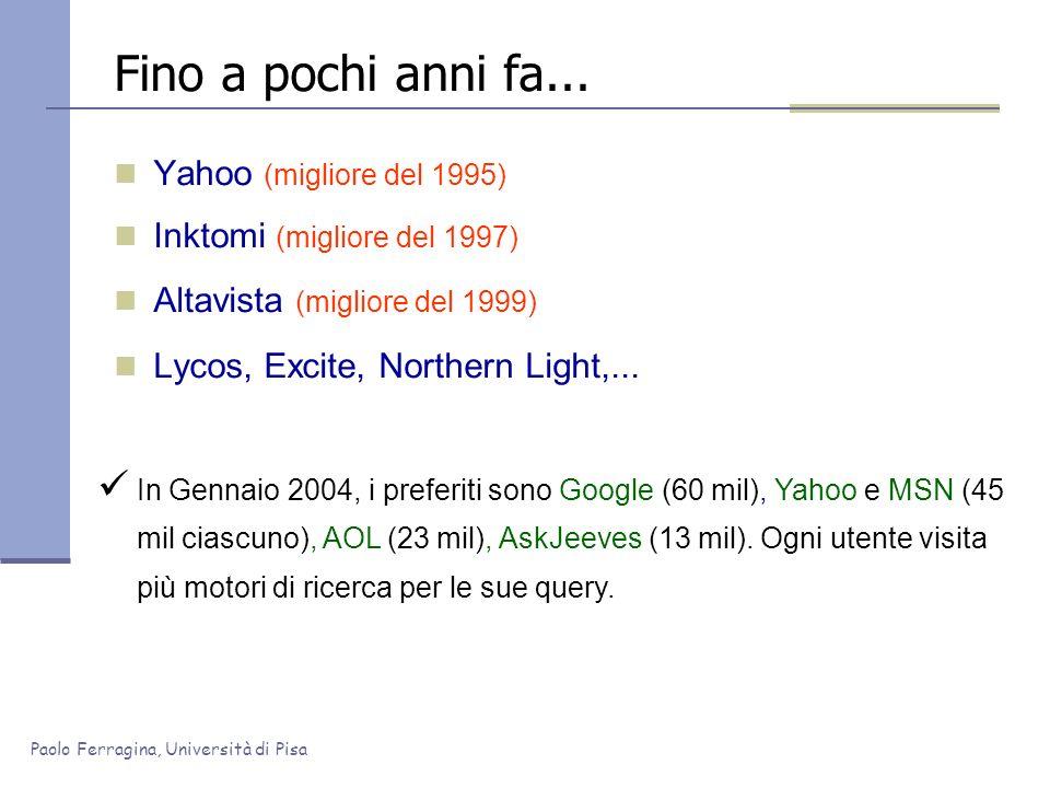 Paolo Ferragina, Università di Pisa Fino a pochi anni fa... Yahoo (migliore del 1995) Inktomi (migliore del 1997) Altavista (migliore del 1999) Lycos,