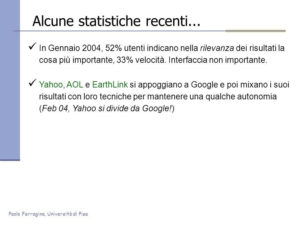 Paolo Ferragina, Università di Pisa Alcune statistiche recenti... In Gennaio 2004, 52% utenti indicano nella rilevanza dei risultati la cosa più impor