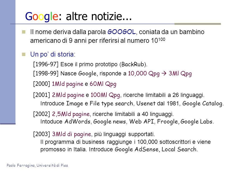 Paolo Ferragina, Università di Pisa Google: altre notizie... Il nome deriva dalla parola GOOGOL, coniata da un bambino americano di 9 anni per riferir