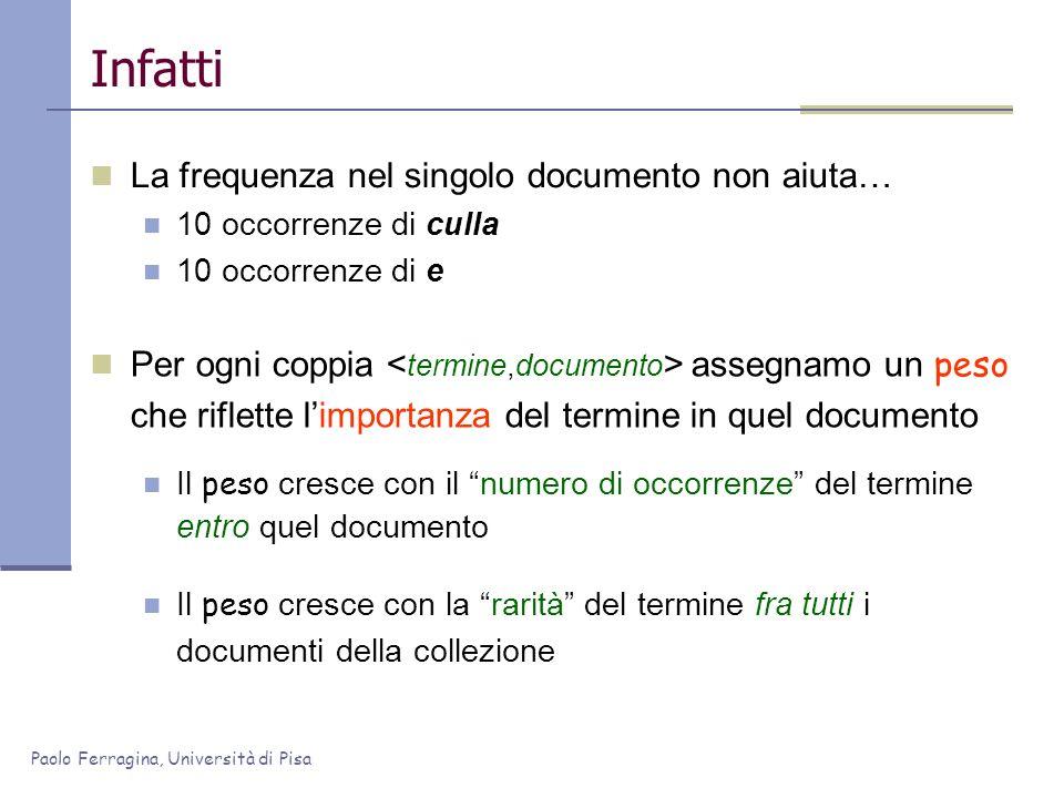 Paolo Ferragina, Università di Pisa Infatti La frequenza nel singolo documento non aiuta… 10 occorrenze di culla 10 occorrenze di e Per ogni coppia as