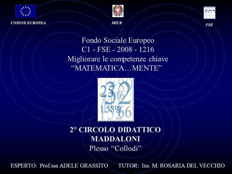 Fondo Sociale Europeo C1 - FSE - 2008 - 1216 Migliorare le competenze chiave MATEMATICA…MENTE UNIONE EUROPEAMIUR FSE 2° CIRCOLO DIDATTICO MADDALONI Plesso Collodi ESPERTO: Prof.ssa ADELE GRASSITO TUTOR: Ins.