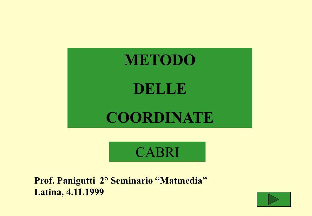 METODO DELLE COORDINATE CABRI Prof. Panigutti 2° Seminario Matmedia Latina, 4.11.1999
