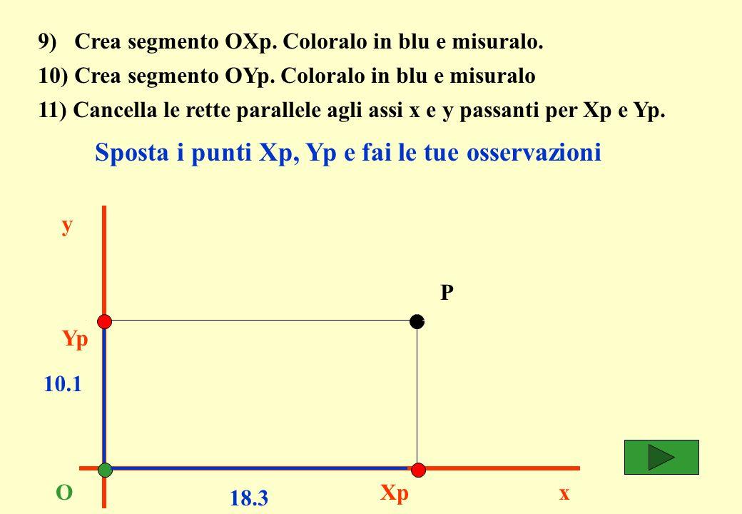 9) Crea segmento OXp. Coloralo in blu e misuralo.