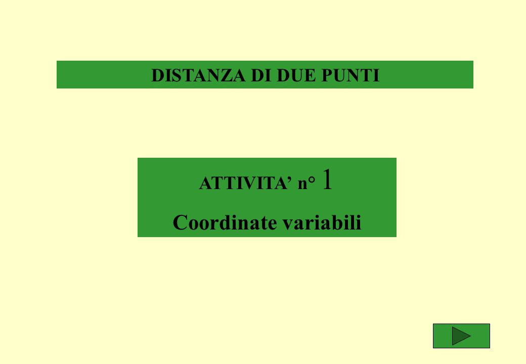 DISTANZA DI DUE PUNTI ATTIVITA n° 1 Coordinate variabili