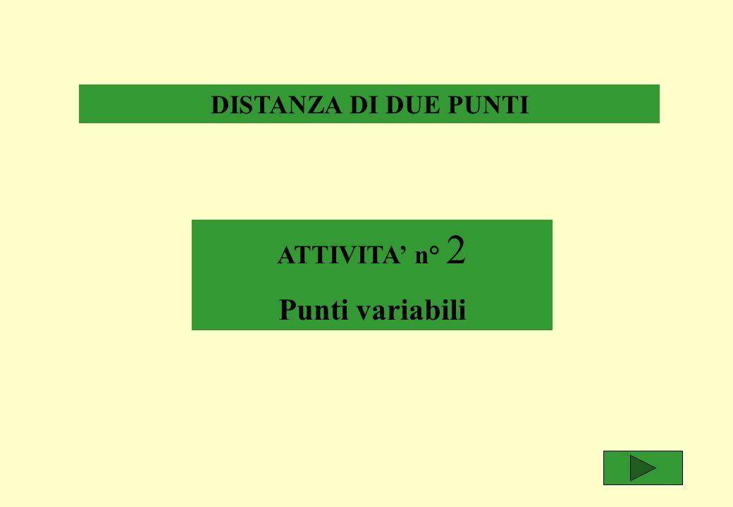 DISTANZA DI DUE PUNTI ATTIVITA n° 2 Punti variabili