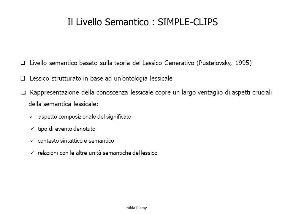 Rappresentazione della conoscenza lessicale copre un largo ventaglio di aspetti cruciali della semantica lessicale: Il Livello Semantico : SIMPLE-CLIPS Lessico strutturato in base ad unontologia lessicale aspetto composizionale del significato tipo di evento denotato contesto sintattico e semantico relazioni con le altre unità semantiche del lessico Livello semantico basato sulla teoria del Lessico Generativo (Pustejovsky, 1995) Nilda Ruimy