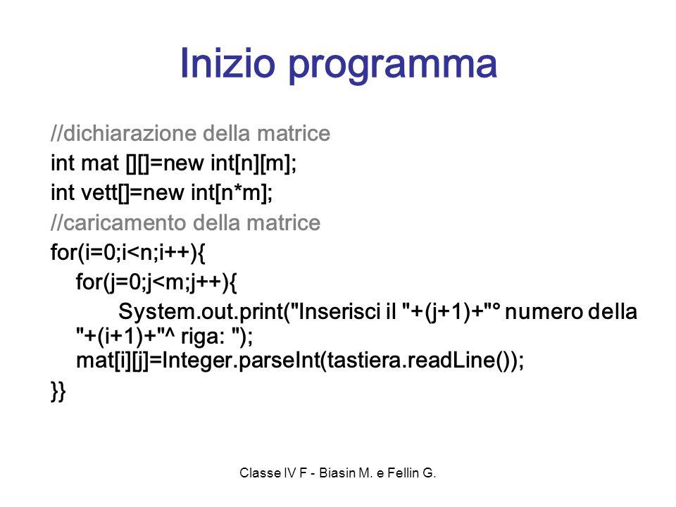 //dichiarazione della matrice int mat [][]=new int[n][m]; int vett[]=new int[n*m]; //caricamento della matrice for(i=0;i<n;i++){ for(j=0;j<m;j++){ System.out.print( Inserisci il +(j+1)+ ° numero della +(i+1)+ ^ riga: ); mat[i][j]=Integer.parseInt(tastiera.readLine()); }} Inizio programma