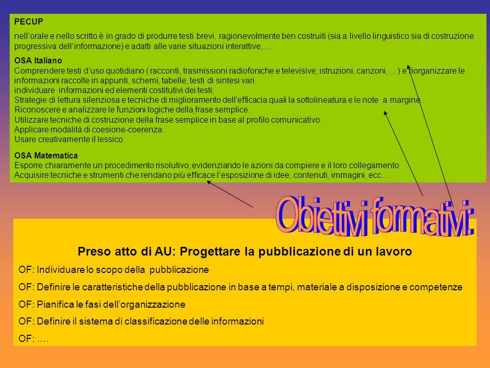 Preso atto di AU: Progettare la pubblicazione di un lavoro OF: Individuare lo scopo della pubblicazione OF: Definire le caratteristiche della pubblica