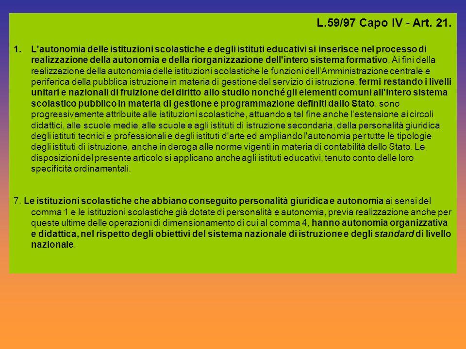 L.59/97 Capo IV - Art. 21. 1.L'autonomia delle istituzioni scolastiche e degli istituti educativi si inserisce nel processo di realizzazione della aut