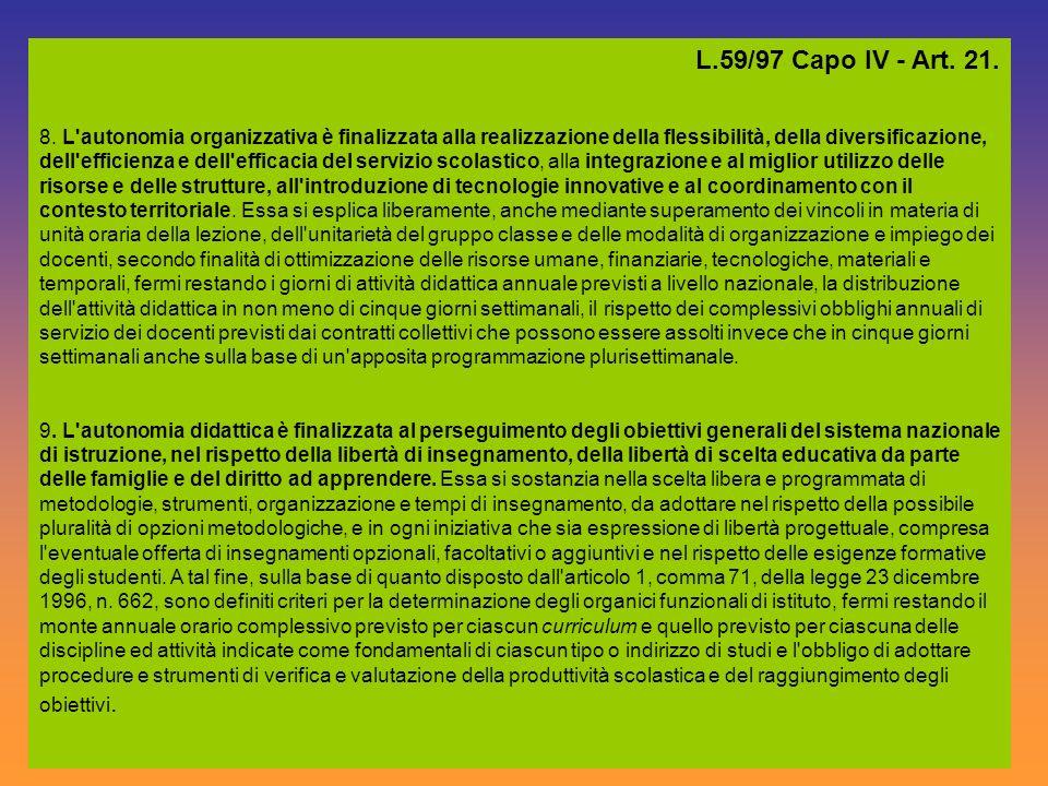 L.59/97 Capo IV - Art. 21. 8. L'autonomia organizzativa è finalizzata alla realizzazione della flessibilità, della diversificazione, dell'efficienza e