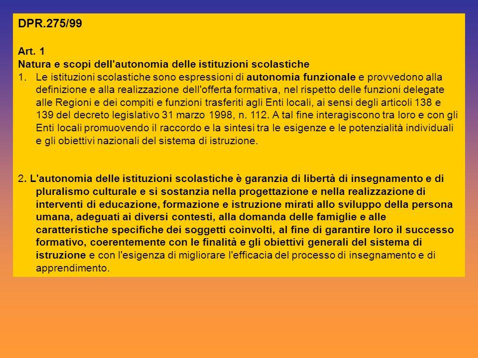 DPR.275/99 Art. 1 Natura e scopi dell'autonomia delle istituzioni scolastiche 1.Le istituzioni scolastiche sono espressioni di autonomia funzionale e