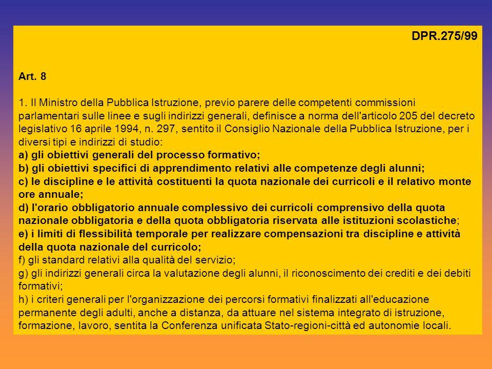 DPR.275/99 Art. 8 1. Il Ministro della Pubblica Istruzione, previo parere delle competenti commissioni parlamentari sulle linee e sugli indirizzi gene