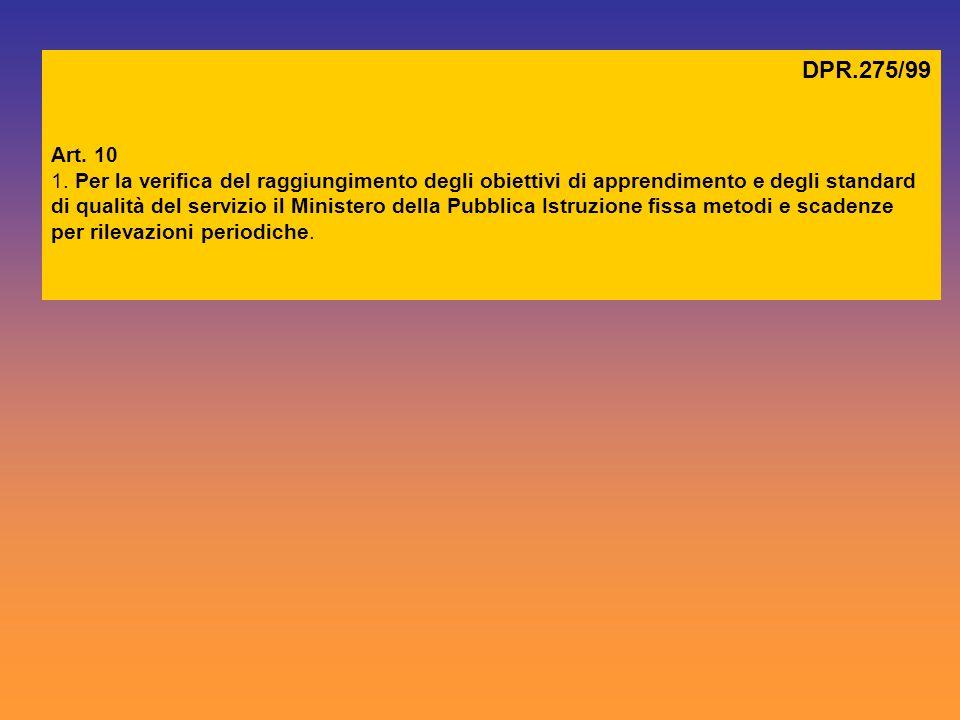 DPR.275/99 Art. 10 1. Per la verifica del raggiungimento degli obiettivi di apprendimento e degli standard di qualità del servizio il Ministero della